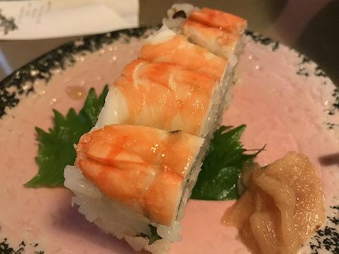 冷やしたぬきそばと海老押し寿司